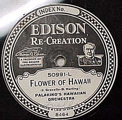 Edison Record 'flower Of Hawaii' 'hawaiian Nighingale'