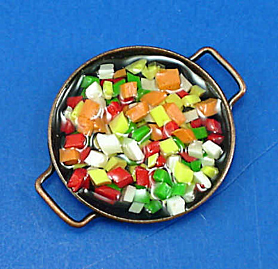 Dollhouse Miniature Stir Fry Vegetables In Pan