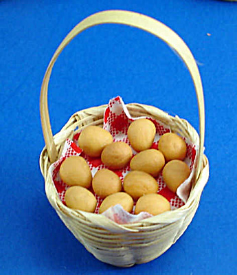 Dollhouse Miniature Basket Of Ceramic Eggs