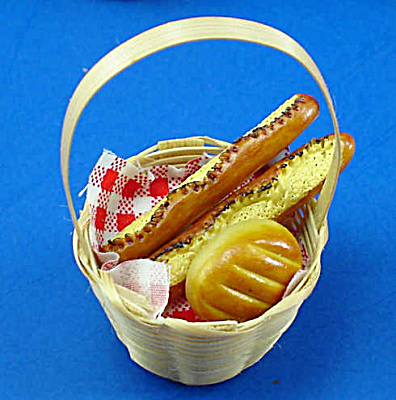 Dollhouse Miniature Basket Of Ceramic Bread