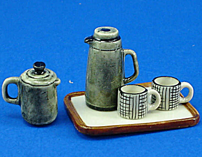 Dollhouse Miniature Coffee Set And Tray