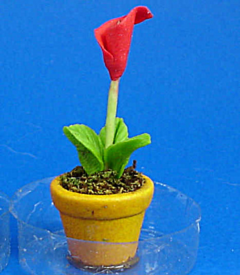 Dollhouse Miniature Flower In Clay Pot
