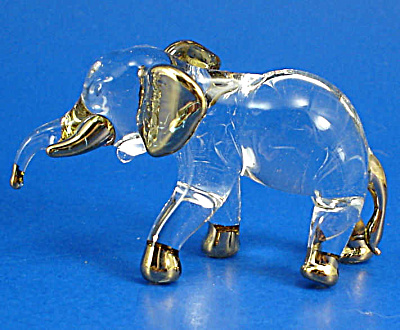 Blown Glass Gold Trim Elephant