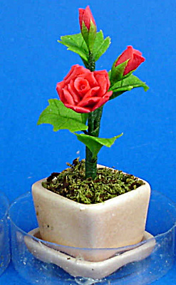 Dollhouse Miniature Red Roses In Planter