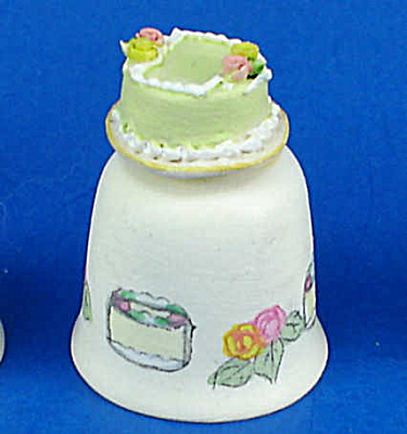 Hand Painted Ceramic Thimble - Cake
