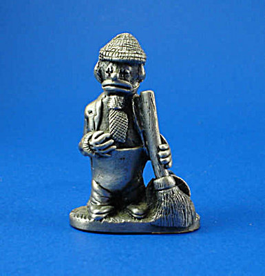 Pewter Miniature Sad Clown With Broom