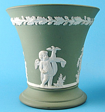 Wedgwood Green Jasperware Posy Vase With Cherubs