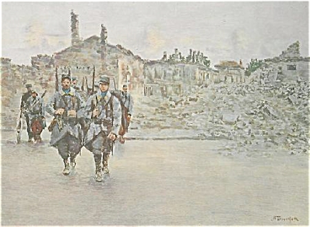 Wwi Print By Bouchor -troops In Ruins C.1915.