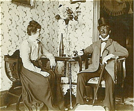 Cabinet Photo - Gentleman In Blackface With Girl.