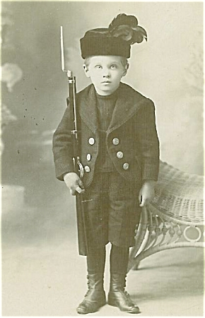 Cabinet Photo - Little Soldier With Toy Rifle