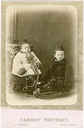 Cabinet Photo - Bundled Up Kids And Sled