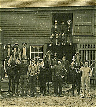 Cabinet Photo - Huge Barn, Firewood, Workmen - Rr.