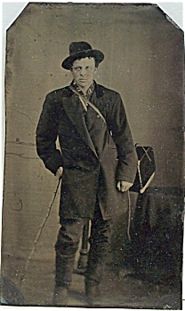 Tintype - Peddler With His Box & Walking Stick.