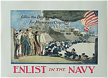 Wwi Original Navy Poster Enlist In The Navy G. Wright