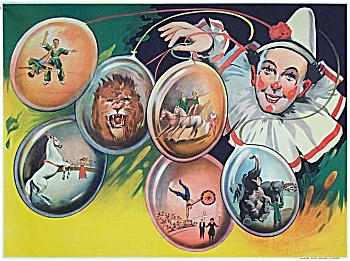 Vintage Circus Poster C.1930 Clown With Balloons