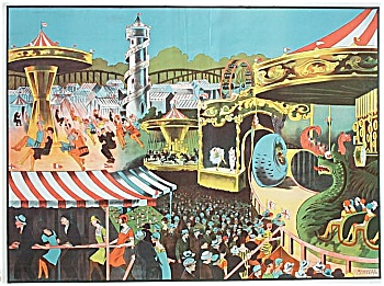 1930 Circus Carnival Poster For Midway Rides