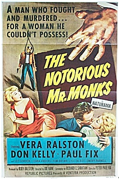 Vintage 1950's Movie Poster - Notorious Mr. Monks.