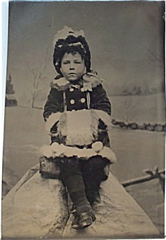 Tintype - Cute Little Girl With Her Muff.