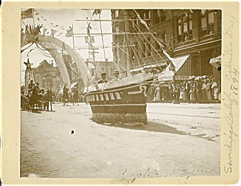 Cabinet Photo - Bicycle-powered Float - San Diego 1894.