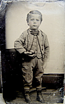 Tintype - Little Boy Holding Apple Or Ball - C.1860's.