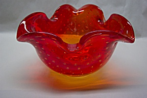 Pilgrim Amberina Controlled Bubble Folded Bowl/ashtray