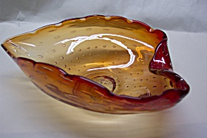 Pilgrim Handblown Amberina Art Glass Folded Bowl