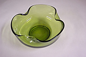 Handblown Light Green Art Glass Folded Bowl