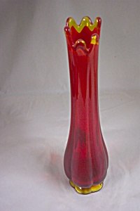 Vintage Handblown Amberina Art Glass Bud Vase