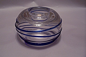 Bohemian Handblown Crystal/blue Art Glass Candleholder