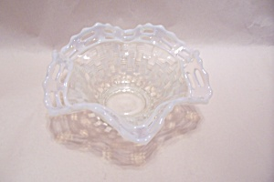 Opalescent Latticed Rimmed Folded Art Glass Bowl