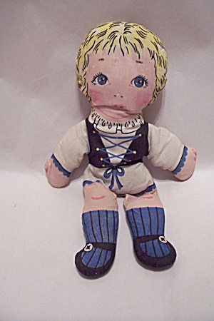German Handsewn Fabric Girl Doll