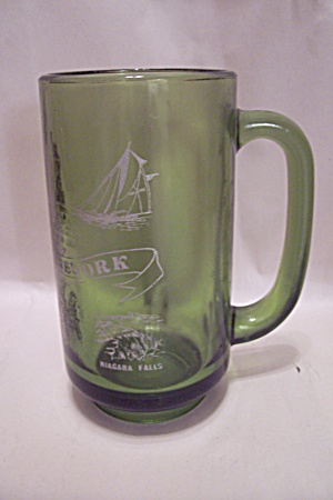 Avocado Green New York State Glass Beer Mug
