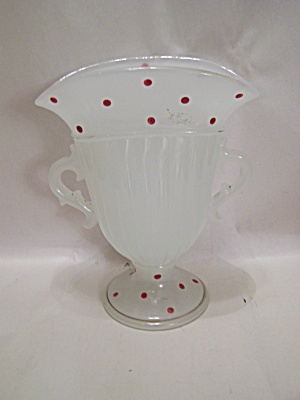 Opaque Art Glass Vase With Handles