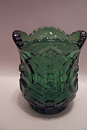 Green Pattern Glass Toothpick Holder