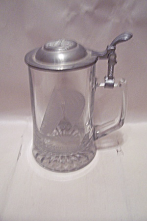 12 Meter Racing Sloop Glass Beer Stein With Pewter Lid