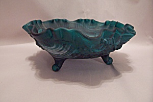 Greenwich Greenish Blue Slag Glass 3-toed Bowl