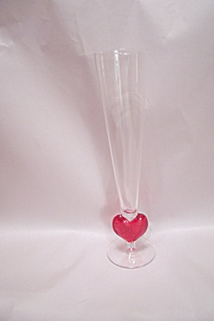 Heart Design Art Glass Vase