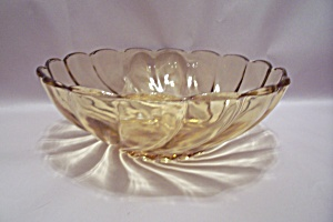 Vaseline Swirl Pattern Glass Bowl