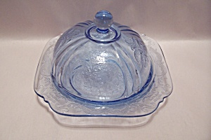 Avon Depression Motif Light Blue Glass Cheese Bowl