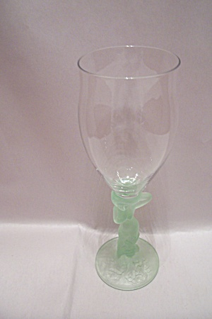 Crystal Wine Glass With Light Green Female Stem