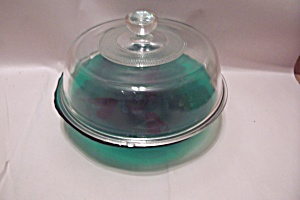 Green & Crystal Glass Covered Cheese Dish
