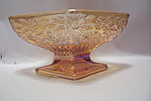Indiana Carnival Glass Diamond Shaped Footed Bowl