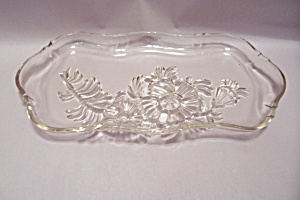 Crystal Glass Rose Decorated Serving Tray