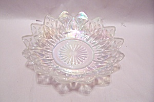Opalescent Crystal Pattern Glass Vegetable Serving Bowl