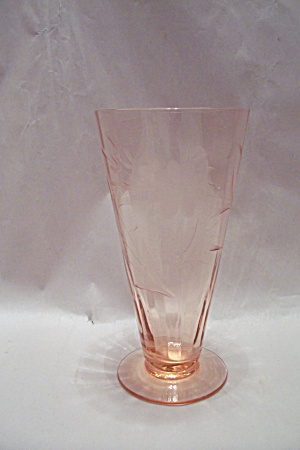 Pinkish Tinted & Incised Floral Motif Footed Tumbler