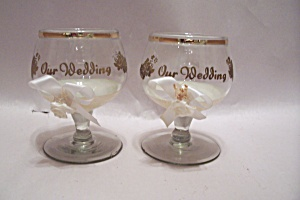 Pair Of Crystal Glass Our Wedding Wine Glasses