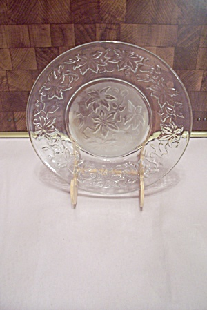 Crystal & Satin Glass Holly Pattern Salad Plate