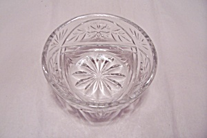 Cut Crystal Floral Pattern Glass Dessert/berry Bowl