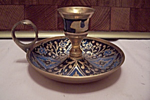 Brass & Enamel Decorated Candle Holder