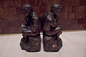 Pair Of Copper Plated Metal Boy Thinker Bookends